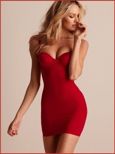 Beautiful blonde in red dress