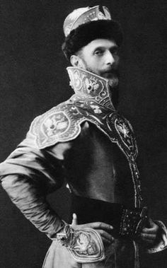 Close-up black & white photo of Grand Duke Sergei Alexandrovich Romanov (11 May 1857-17 Feb 1905) Russia dressed in a XVII century Russian costume for the 1903 Last Romanov Imperial Ball at the Winter Palace in April 1903.