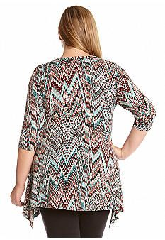 Karen Kane Plus Size Fashion Plus Size Snakeskin Print Three-Quarter Sleeve Handkerchief Top available from Belk #Baja #Spring_2015 #Plus_Size #Snakeskin #Print #Handkerchief #Hem #Top #Plus #Size #Womens #Fashion #KarenKane #Plus_Size_Fashion #Belk