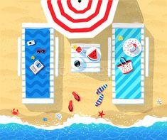 Summer vector illustration of sun beds stock photo (c) Sonya_illustrations (#8203823) | Stockfresh