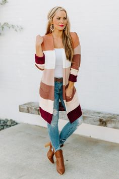 Fall Cardigan, Striped Cardigan, Winter Teacher Outfits, Hemline, Stripes, Chic, Fitness, Sleeves, Sweaters