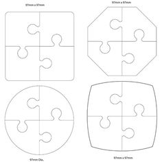 Imgs For > 4 Piece Jigsaw Puzzle Template Felt Crafts, Wood Crafts, Diy And Crafts, Crafts For Kids, Paper Crafts, Puzzle Piece Crafts, Puzzle Pieces, Puzzle Piece Template, Woodworking Projects