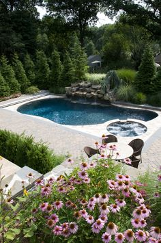 Landscape pool, spa, waterfall and garden design