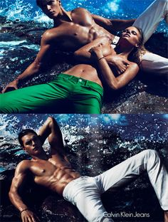 Spring 2012 Calvin Klein Jeans.  Models: Lara Stone, Toni Garrn, Joan Smalls, Matthew Terry, and Myles Crosby.  Photographer: Mert and Marcus.
