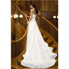 Gorgerous Satin A-line Strapless Spring Sleeveless Beading Empire White Wedding Dresses