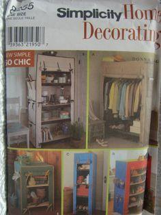 Simplicity Home Decorating Pattern No. 8255 Storage Unit Covers For Framed Shelves Uncut Designer Donna Lang by ElliesStudio1 on Etsy
