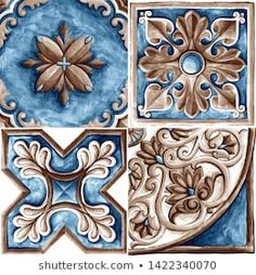 Design for ceramic tiles, majolica, watercolor ornament Classic House Exterior, Elephant Tapestry, Italian Tiles, Decoupage Vintage, Mandala Pattern, Tile Design, Islamic Art, Mosaic Art, Illustrations