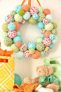 Spring Wreath. Using fabric strips and styrofoam balls.