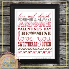 Free Valentine subway art printable