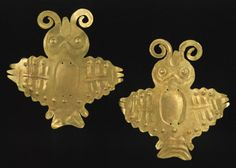 Two bird ornaments, 1st–2nd century  Peru; Nazca  Gold