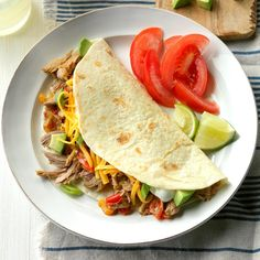 Slow-Cooked Pork Tacos Recipe -Sometimes could substitute Bibb lettuce leaves for the tortillas to make crunchy lettuce wraps instead of tacos use pork butt Lime Chicken Tacos, Pork Tacos, Pork Burritos, Slow Cooker Recipes, Crockpot Recipes, Cooking Recipes, Ham Recipes, Healthy Recipes, Recipes