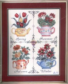 ` Cross Stitch Tree, Cross Stitch Cards, Cross Stitch Flowers, Cross Stitching, Cross Stitch Patterns, Four Seasons, Floral, Needlework, Projects To Try