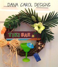 Tiki Bar Wreath Decor via Etsy. Tropical Party, Tropical Decor, Tiki Art, Tiki Tiki, Backyard Bar, Backyard Landscaping, Tiki Bar Decor, Tiki Lounge, Hawaiian Tiki