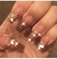 Rose Gold Ombré Glitter Bling Nails , Acrylic Coffin ombre Rose gold French Glitter - Coffin nails are fun to experiment with. Take a look at these 69 impressive designs you will definitely want to play around with. Ongles Bling Bling, Bling Nails, Gold Acrylic Nails, Rose Gold Nails, Glitter Ombre Nails, Gold Coffin Nails, Glitter French Nails, Rose Gold Nail Design, Christmas Acrylic Nails