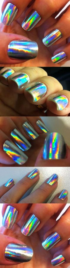 Holographic silver nail foil - somanylovelythings