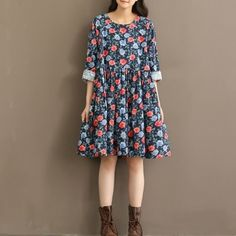 2017 spring new korean version of loose cotton long section of large size women &  39  s fashion floral print long sleeve dress