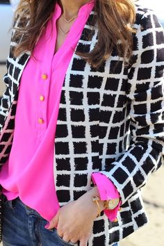 Here is another great piece for casual friday. Pair a trendy patterned blazer with a bright pop of color, jeans, and a pair of black flats.