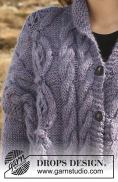 Purple Mountain / DROPS Extra 0-554 - Free knitting patterns by DROPS Design Knitted Coat, Wool Cardigan, Cable Knitting, Knitting Socks, Drops Design, Knitting Patterns Free, Free Knitting, Garnstudio Drops, Magazine Drops