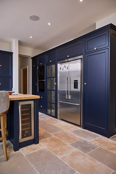 Fisher & Paykel American fridge freezer with surround kit integrated in to large dark blue kitchen cabinets - The Main Company Kitchen Room Design, Home Decor Kitchen, Interior Design Kitchen, Home Kitchens, Interior Modern, Dark Blue Kitchen Cabinets, Dark Blue Kitchens, Blue Kitchen Ideas, Blue Kitchen Designs