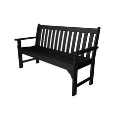 POLYWOOD� Vineyard Black 60 Inch Bench ($499) ❤ liked on Polyvore featuring home, outdoors, patio furniture, outdoor benches, outdoor wood bench, outdoor wood furniture, outdoors patio furniture, outdoor wooden bench and outside patio furniture