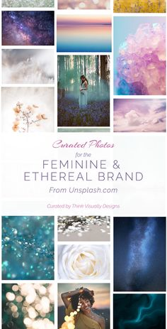 Curated photographs for the ethereal and feminine brand. Photos would be perfect for any brand that . Web Design, Blog Design, Logo Design Inspiration, Marca Personal, Personal Branding, Well Designed Websites, Apothecary Decor, Brand Archetypes, Brand Board