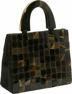 Global Elements Clutch - Black Tiled Horn HandbagMaterial: Black Buffalo Horn Hand-Held Bags, Handhelds, Buffalo Horn, Global Elements, Evening Bags, Day to Night, Shell, Fabric Handbags, Double Handle, Clutches