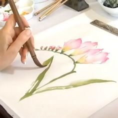 """""""The artist is the confidant of nature, flowers carry on dialogues with him through the graceful bending of their stems and the… Watercolor Paintings For Beginners, Watercolor Video, Watercolor Drawing, Watercolor Print, Watercolor Illustration, Watercolor Artists, Watercolor Cards, Drawing Art, Watercolor Flowers Tutorial"""
