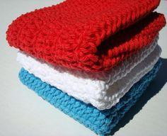Three Patriotic Cotton Washcloths - Red White and Blue Washcloths - Fourth of July Washcloths - Crochet, Cotton Wash Cloths, Washcloths by HoookedSoap, $12.00