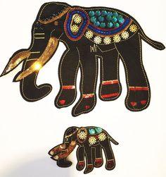 Elefanten Paar schwarz  XL Pailletten Applikation zum Aufnähen