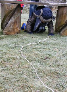 A frosty trail took the tots through our willow tunnel, round tables and under benches finishing at Dennis the dinosaur.