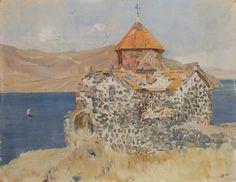 Սբ. Կարապետի եկեղեցին Սևանի կղզում (էտյուդ) (1899) կտավ, յուղաներկ 21,5x29 սմ By Eghishe Tadevosyan (1870-1936)