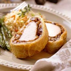 For this impressive dinner entree,  roasted pork tenderloin is encased in flaky puff pastry with a tasty layer of mincemeat.
