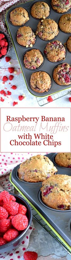 Raspberry Banana Oatmeal Muffins with White Chocolate Chunks Raspberry Oatmeal Banana Muffins w/White Chocolate Chips Brunch Recipes, Sweet Recipes, Breakfast Recipes, Dessert Recipes, Chocolate Chips, White Chocolate, Chocolate Muffins, Vegan Chocolate, Banana Oatmeal Muffins