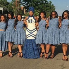 shweshwe attire for African women – fashion - NALOADED African Bridesmaid Dresses, African Dresses For Women, African Print Dresses, African Print Fashion, African Fashion Dresses, African Women, African Beauty, Africa Fashion, African Prints
