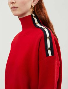 SANDRO - Press-stud knitted jumper | Selfridges.com Parisian Wardrobe, Knitwear Fashion, Sandro, Fashion Details, Couture Fashion, High Fashion, Women Wear, Fashion Outfits, Siskin
