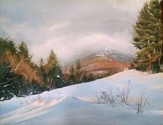 """""""Shades of Pink and Blue"""" - Sunset on Mt. Mansfield 11"""" X 14"""" Acrylic on Canvas"""