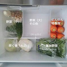 女性で、Kitchen/冷蔵庫/収納/100均/セリア/キッチン収納/シンプルライフ/整理収納部/野菜室/シンプルインテリア/Instagram→kayoaccoについてのインテリア実例。 「冷蔵庫の野菜室(下段...」 (2016-08-31 02:05:18に共有されました)