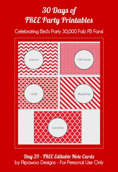 30 Days of FREE Party Printables: Day 29 - FREE Editable Note Cards by Flipawoo Designs by Birds Party