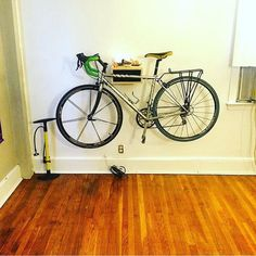 The WC Bike Shelf -perfect for any bike; a road bicycle, cross bike, vintage bike, hybrid, single speed, or fixed gear. Handcrafted in the USA with great care and attention from reclaimed wood. Cheapest price on Etsy >>$75 unfinished or finished $90. For custom requests just drop us a