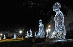 """Take a look at seven gorgeous aluminium """"Tolerance"""" figures, representing different languages on the seven continents. I recommend driving down Allen Parkway, just east of Waugh Drive at night, to see them illuminated.  So pretty."""