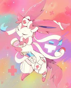Medic sylveon without the mixed feeling needle! Pokemon Memes, Pokemon Fan Art, Pokemon Go, Pokemon Eevee Evolutions, Cute Pokemon Pictures, Types Of Fairies, Fanart, Digimon, Anime