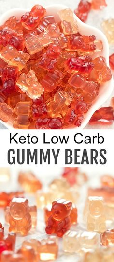 Sweet, chewy, fruit-flavored homemade gummy bears that are just 3 ingredients. They are also low carb and keto-friendly. They make a delicious and easy snack, treat or gift. Easy Snacks, Keto Snacks, Easy Meals, Snacks Ideas, Keto Desserts, Lunch Ideas, Keto Chocolate Chip Cookies, Keto Cookies, Cookies Soft