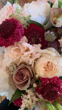 Rose Bouquet Discover Blush Mauve and Berry Tones Bridal Bouquet Ruffles and lots of texture in this glam bridal bouquet. Beautiful Rose Flowers, Beautiful Flowers Pictures, Flower Images, Flower Pictures, Mauve, Red Rose Bouquet, Blush Bouquet, Bridal Bouquet Fall, Luxury Flowers