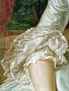 Sleeve Detail showing lace flounce (engageantes) and chemise from painting of Jeanne Antoinette Poisson by François Hubert Drouais