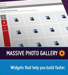 Massive Photo Gallery -This is a combination composition widget to allow you to show multiple image sets in yours or your client image gallery.   You can add both image set panels and additional image galleries to each panel to allow you to showcase a large amount of imagery in an organised manner.