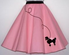 My mom made me a pink poodle skirt when I was in junior high school, that is to say 7th, 8th, or 9th grade.