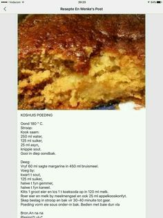 South African Dishes, South African Recipes, Baking Recipes, Dessert Recipes, Cookie Recipes, African Dessert, Delicious Desserts, Yummy Food, Recipe Tin