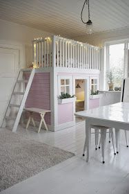 Little girls haven with lofted bed.