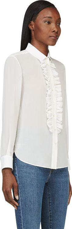 Saint Laurent, white georgette ruffle blouse
