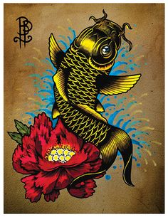 Items similar to Koi Fish with a peony flower Tattoo Flash Print on Etsy Dragon Tattoo Drawing, Koi Dragon Tattoo, Dragon Fish, Koi Tattoo Sleeve, Forearm Sleeve Tattoos, Zombie Tattoos, Bike Tattoos, Peony Flower Tattoos, Peonies Tattoo